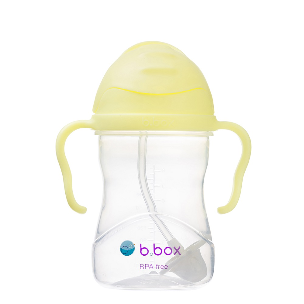 Laste joogipudel kõrrega B.box Sippy Cup Blueberry Banana Split Helekollane