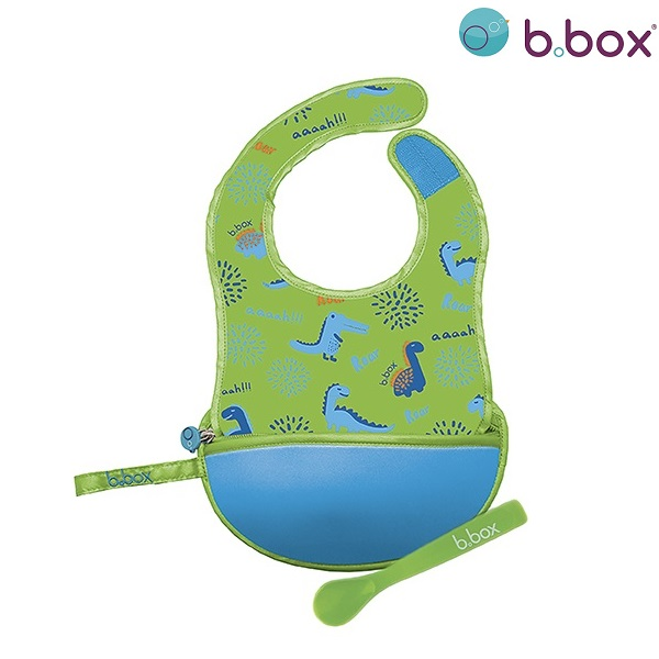 Pudipõll lusikaga B.box Travel Bib Dino