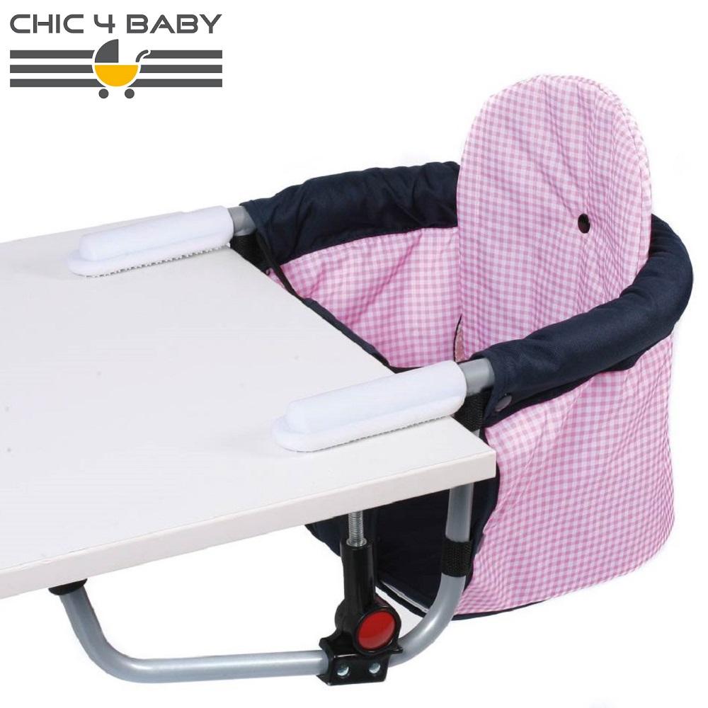 Kaasaskantav söögitool Chick4Baby Pink Checkers