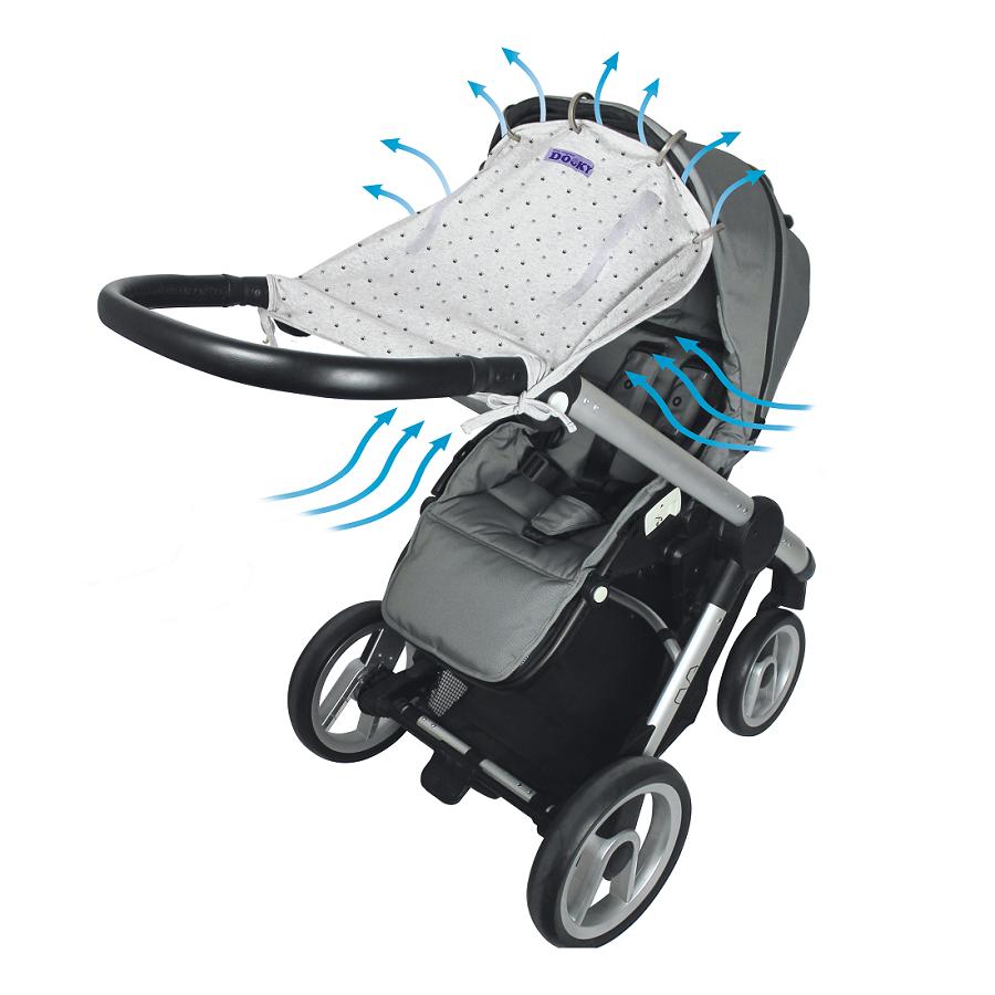 Solskydd barnvagn Dooky Design Grey Crowns