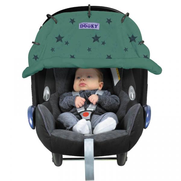 Solskydd barnvagn Dooky Design Green Stars