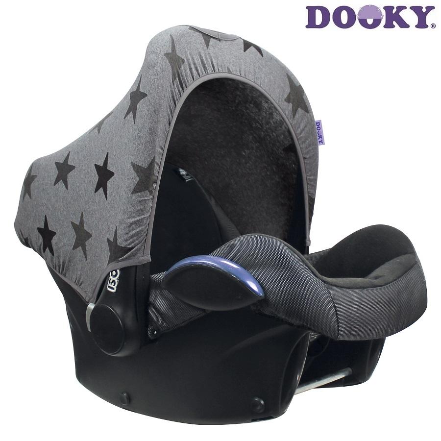 Solskydd till bilbarnstol Dooky Hoody Grey Stars