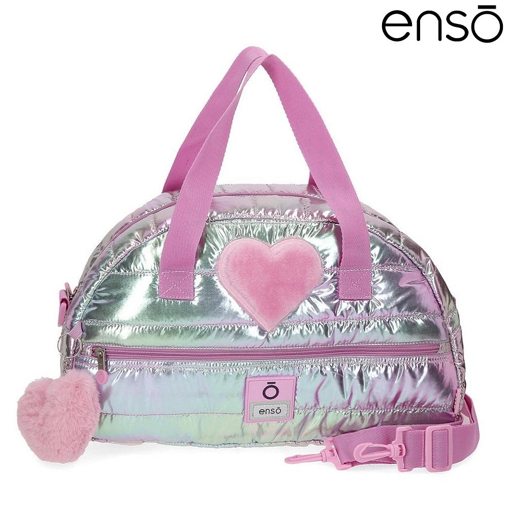 Enso barnväska Fancy resebag och sportväska för barn rosa och silver