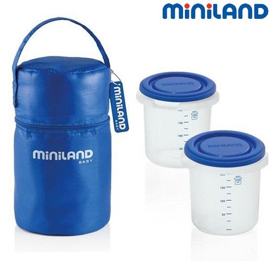 Termokott söögipurkidega Miniland Pack-2-go sinine