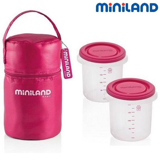 Termokott söögipurkidega Miniland Pack-2-go roosa