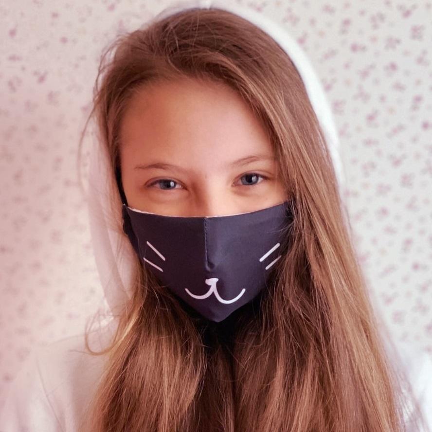 Munskydd barn Facewear svart katt