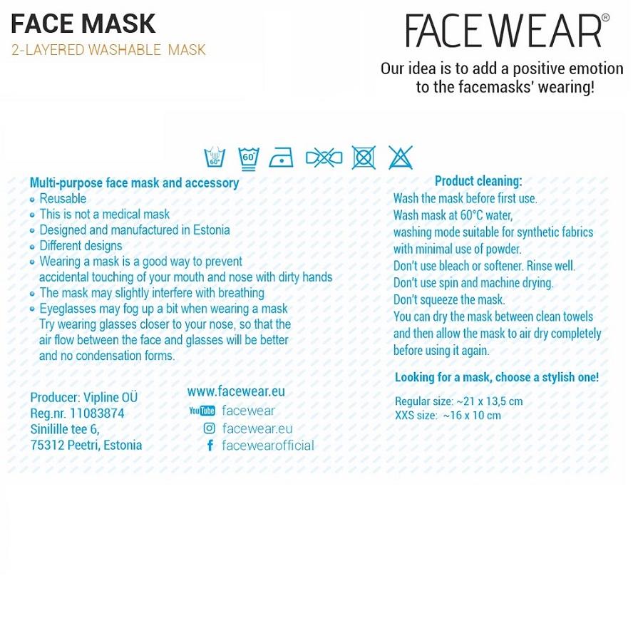 Facewear Näomask Lastele - Must Karu
