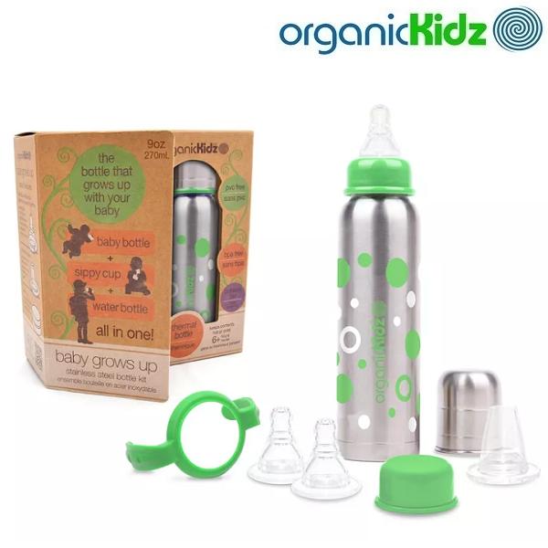 Rostfri nappflaska med termosfunktion OrganicKids Set med flaska, handtag, lock och nappar
