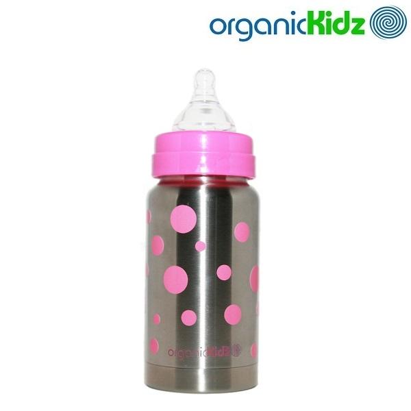 Nappflaska med termosfunktion i rostfritt OrganicKidz Pink Dots 200 ml