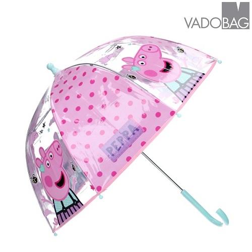 Barnparaply Peppa Pig rosa och genomskinligt