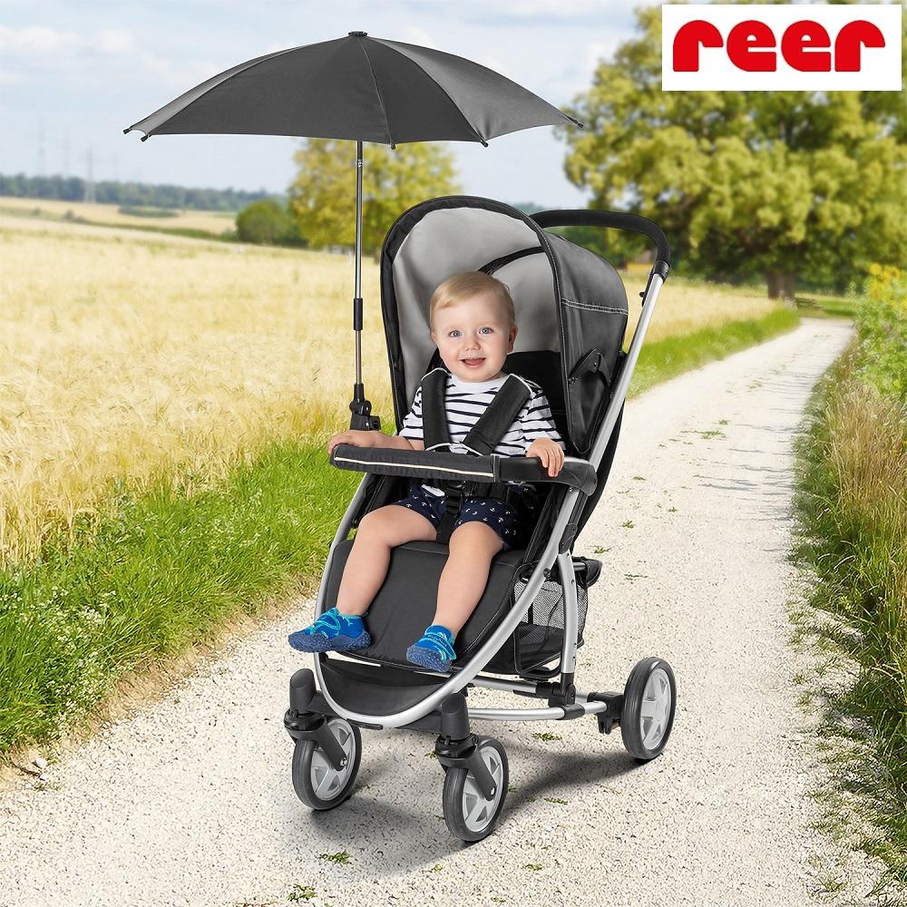 Solparasoll barnvagn Reer svart