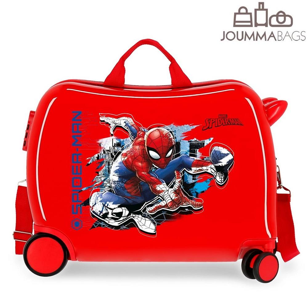 Resväska barn att åka på Spiderman röd