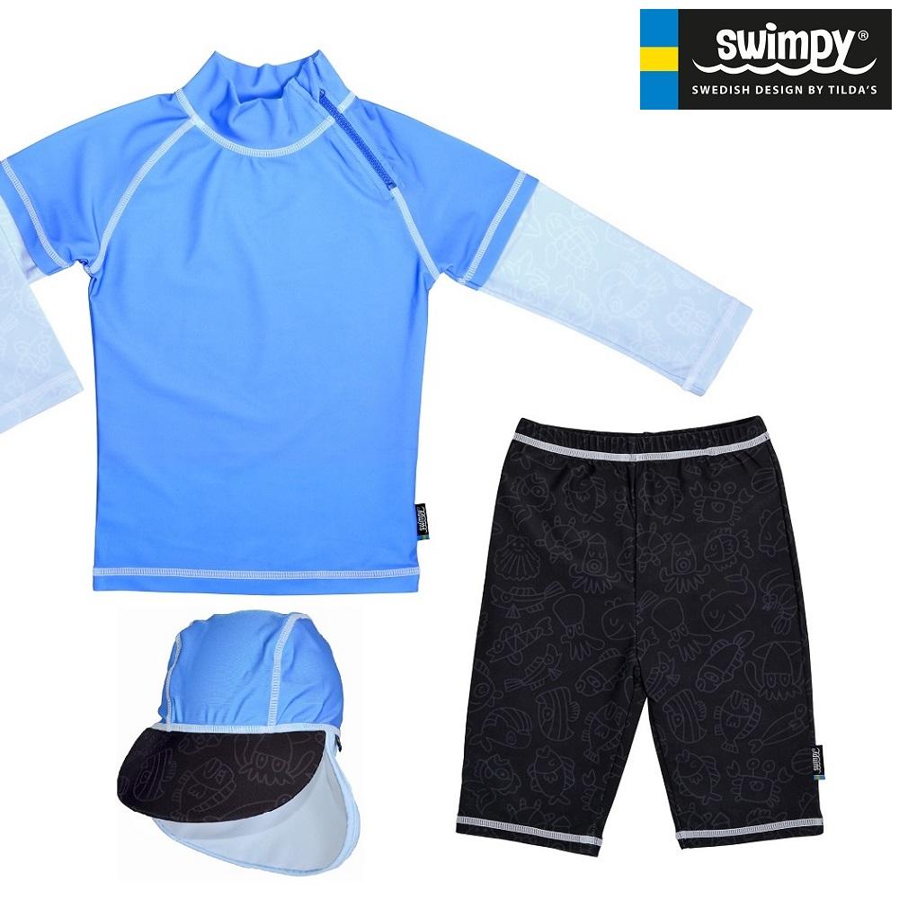Laste UV-kostüüm ja päiksemüts Swimpy Blue Ocean