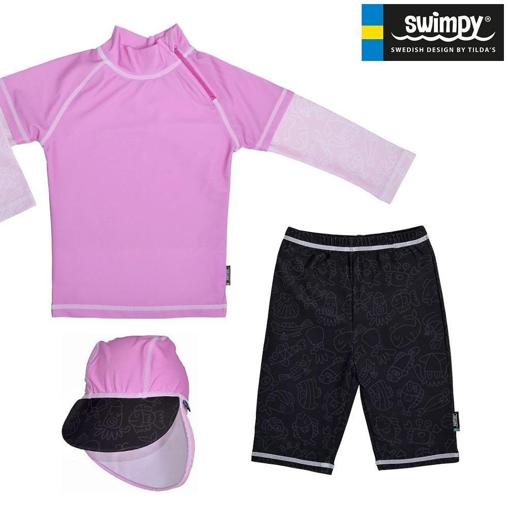 Laste UV-kostüüm ja päiksemüts Swimpy Pink Ocean
