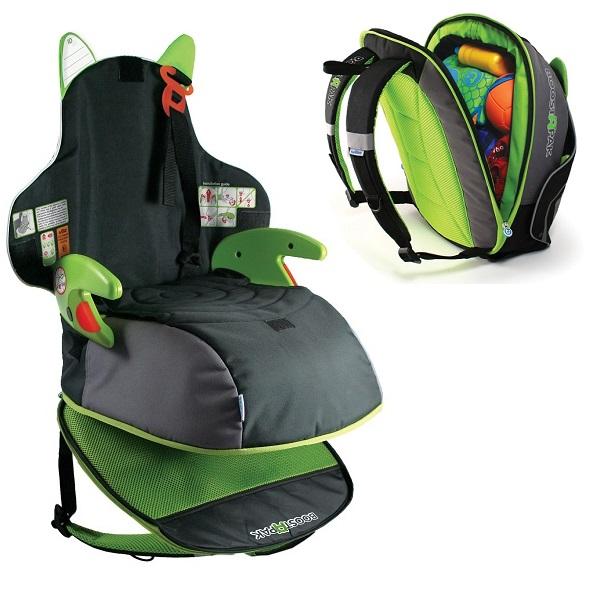 Trunki BoostApak kombinerad bältesstol och ryggsäck grön